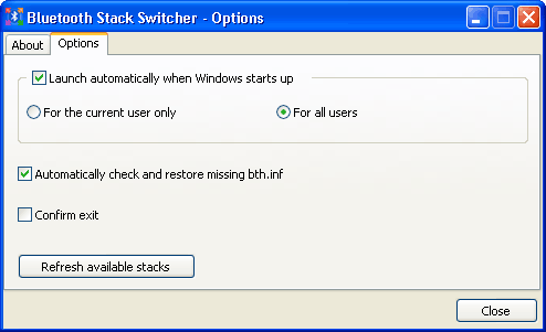 Bluetooth Stack Switcher options
